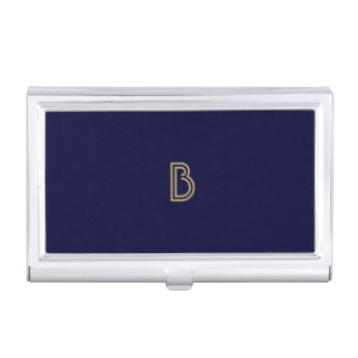 VINTAGE MODERN GOLD and NAVY MONOGRAM Card Case Business Card Holders