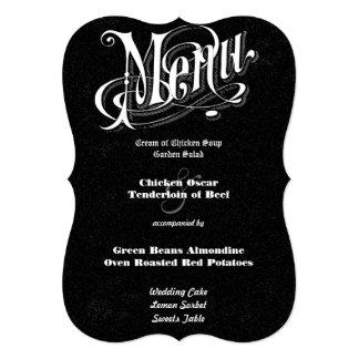 "Vintage Modern Typography Chalkboard  Wedding Menu 5"" X 7"" Invitation Card"