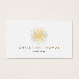 Vintage Modernist Gold Sputnik Interior Designer Business Card