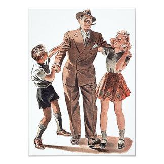 Vintage Modest Shy Guy Man Blank Party Invitations