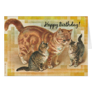 Vintage Momma Cat and Kittens, Birthday Card
