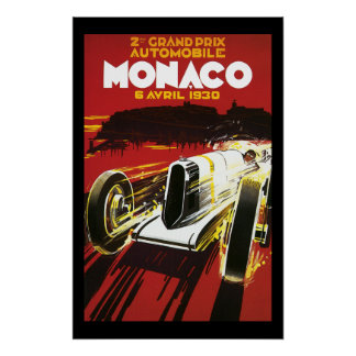 Vintage Monaco Car Road Race Poster