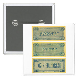 Vintage Money Confederate Play 20 50 100 Dollars 15 Cm Square Badge