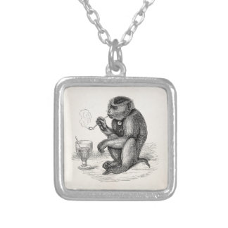 Vintage Monkey Smoking a Pipe Monkeys  Animal Silver Plated Necklace