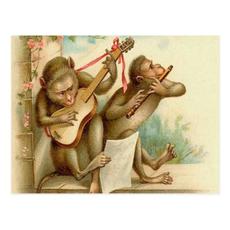 Vintage, Monkeys Playing Musical Instruments Postcard