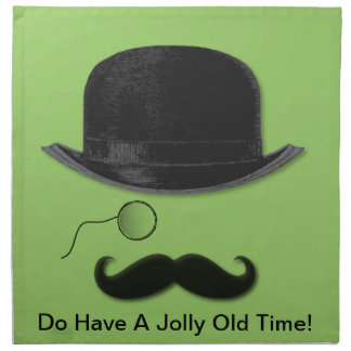 Vintage Monocle, mustache and hat Printed Napkin