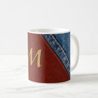 Vintage Monogram Denim and Leather Coffee Mug