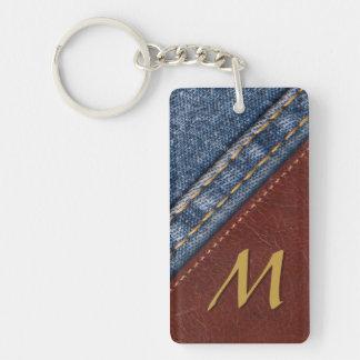 Vintage Monogram Denim and Leather Key Ring