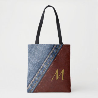 Vintage Monogram Denim and Leather Tote Bag