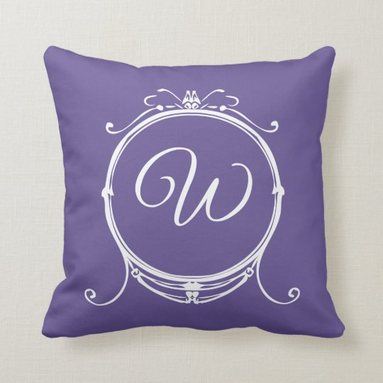 Vintage Monogram Elegant Stylish Purple Cushion