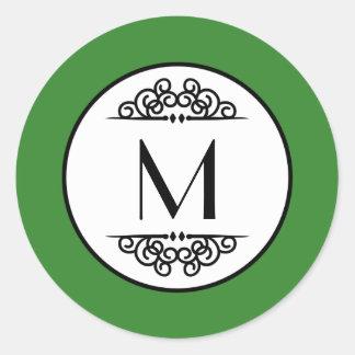 Vintage Monogram Green - Circle Sticker