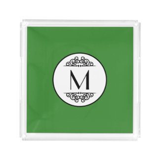 Vintage Monogram Green - Square Tray