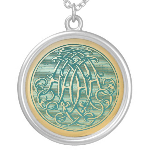 Vintage Monogram- Initials 'AA' Personalized Necklace