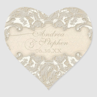 Vintage Monogram Lace Baroque Etching Swirl Formal Heart Sticker