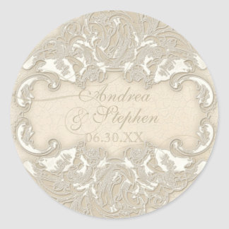 Vintage Monogram Lace Baroque Etching Swirl Formal Round Sticker