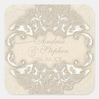 Vintage Monogram Lace Baroque Etching Swirl Formal Square Sticker