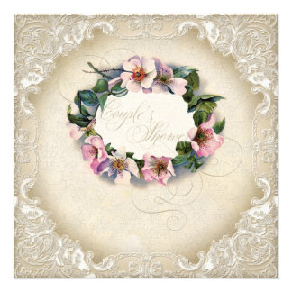 Vintage Monogram Lace Wild Pink Rose Swirl Formal Personalized Invitations