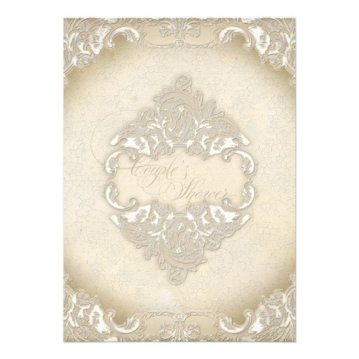 Vintage Monogram Lace Wild Pink Rose Swirl Formal Personalized Announcements