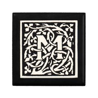 Vintage Monogram M Art Nouveau Letter Small Square Gift Box