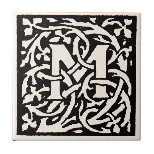 Vintage Monogram M Art Nouveau Letter Small Square Tile