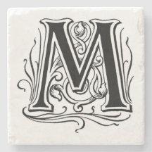 Vintage Monogram 'M' Stone Beverage Coaster