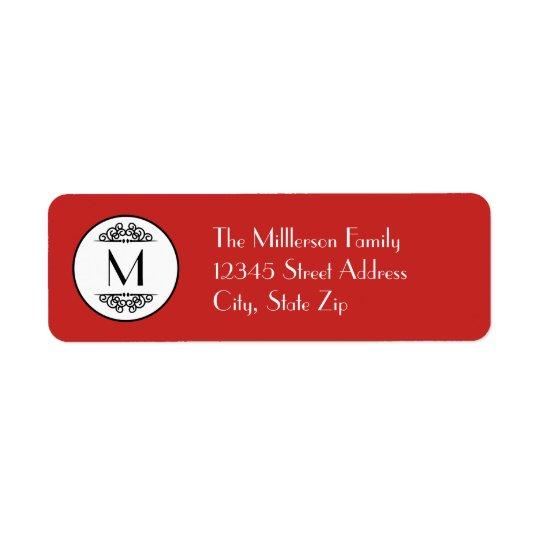 Vintage Monogram Red - Address Label