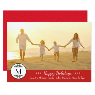 Vintage Monogram Red - Happy Holidays Card