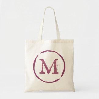 Vintage monogram red wine stain ring tote bag