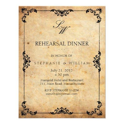 Vintage Monogram Rehearsal Dinner Invitation Card