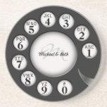 Vintage Monogram  Rotary Phone Dial Sandstone Coaster
