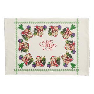 Vintage Monogram Santa Elephants Christmas Pillowcase