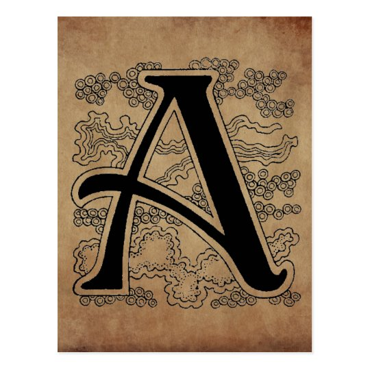 Vintage Monogram The Letter A Script Postcard