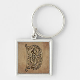 Vintage Monogram The Letter D Silver-Colored Square Key Ring