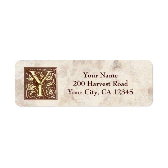 Vintage Monogram Y Return Address Label