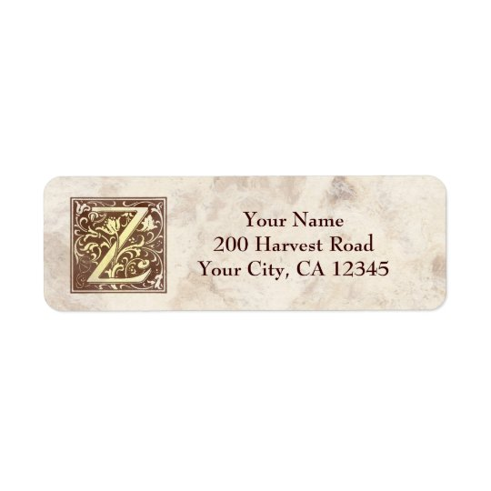 Vintage Monogram Z Return Address Label