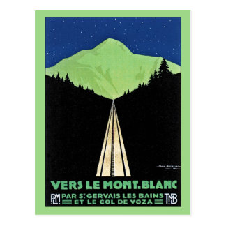 Vintage Mont Blanc Railroad Travel ad Post Cards