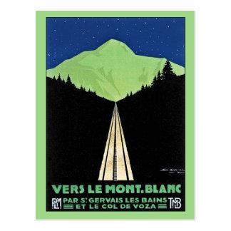 Vintage Mont Blanc Railroad Travel ad Post Cards