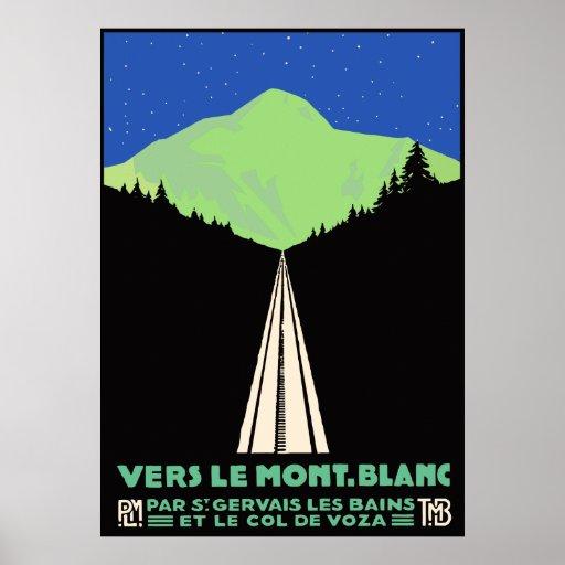 Vintage Mont Blanc Railroad Travel ad Print