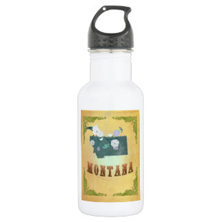 Vintage Montana State Map- Passion Fruit Yellow 532 Ml Water Bottle