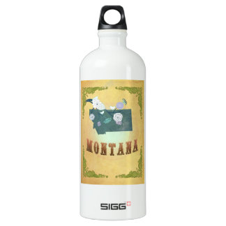 Vintage Montana State Map- Passion Fruit Yellow SIGG Traveller 1.0L Water Bottle