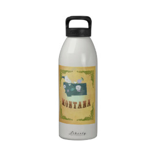 Vintage Montana State Map- Passion Fruit Yellow Drinking Bottles