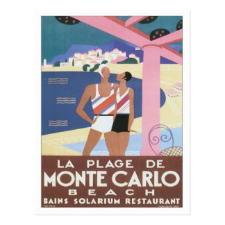 Vintage Monte Carlo Beach Postcard