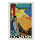 Vintage Monte Carlo Tennis Travel Ad Poster