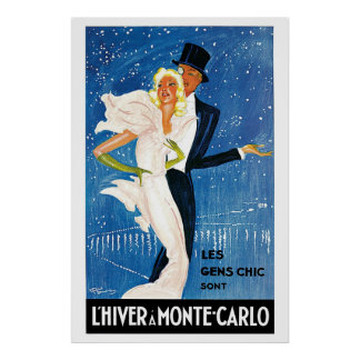 Vintage Monte Carlo Winter Travel Ad Poster