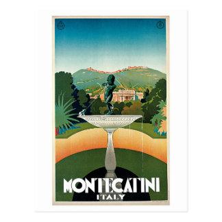 Vintage Montecatini Italian travel advert Postcard