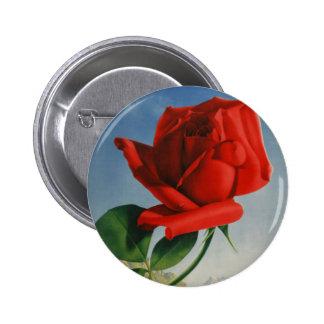 Vintage Montreux Red Rose Switzerland Geneva Lake 6 Cm Round Badge