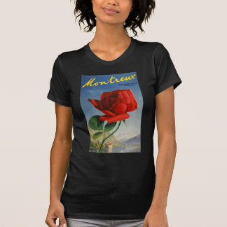 Vintage Montreux Red Rose Switzerland Geneva Lake Tshirt