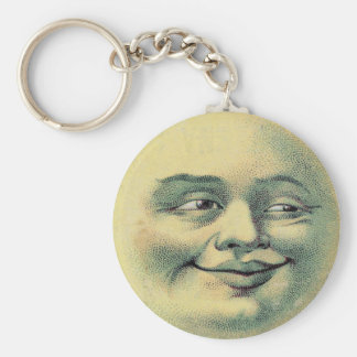 Vintage Moon Basic Round Button Key Ring