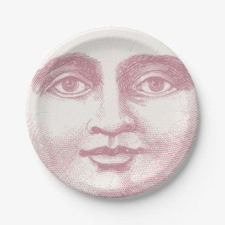 Vintage Moon Face in Pink 7 Inch Paper Plate