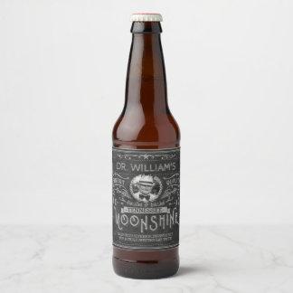 Vintage Moonshine Hillbilly Medicine Custom Gray Beer Bottle Label
